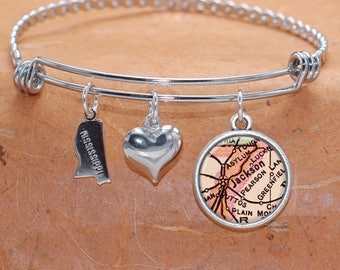 Jackson MS Map Charm Bracelet State of Mississippi Bangle Cuff Bracelet Vintage Map Jewelry Stainless Steel Bracelet Gifts For Her