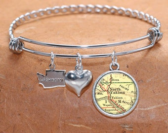 Yakina WA Map Charm Bracelet State of Washington Bangle Cuff Bracelet Vintage Map Jewelry Stainless Steel Bracelet