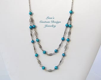 Freshwater pearl sterling silver filigree links double strand necklace