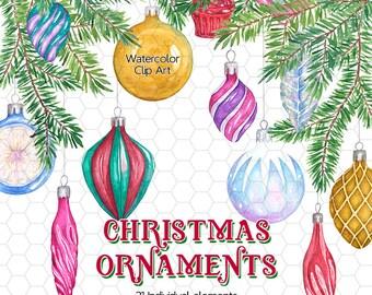 Watercolor Christmas Ornaments Clip Art - Christmas Balls, Pine Tree Branches, Watercolor Christmas Clipart, Digital Christmas Balls, Xmas