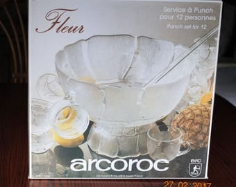 "Aroroc France Glass Punch Bowl Set with Base, 12 Cups and 13"" Long  Ladle in The Clear Fleur Pattern"