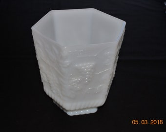 Anchor Hocking Fire King Milk Glass  Octagon Footed Cookie Jar With No Lid or Use as Planter in The Grape Pattern