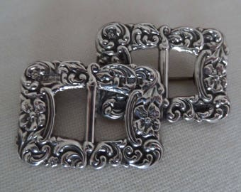 1901 english Silver Hallmarked  double belt buckle brooch