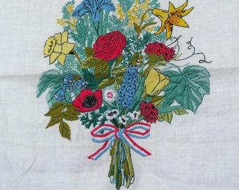 "Vintage Crewel Embroidery - Beautiful Flower Bouquet - 19""L x 16""W - 1976 - Pillow Front - Patriotic"