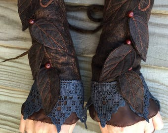 Faerie Cuffs-woodland cuffs- black Cuffs- Folkowl Cuffs - fingerless gloves-Forest Cuffs - Faerie Cuffs - armwarmers-steampunk- wristlets