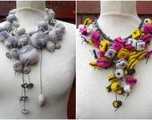 2 felted liquorice necklaces, 2 stone / pebble necklaces