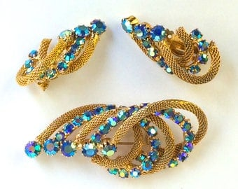 Gold Mesh Brooch and Earrings Mid Century AB Demi Parure