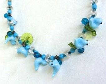 Murano Glass Necklace Blue Bird Necklace