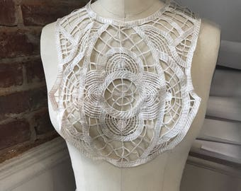 LACE TRIM - white Vintage antique deco with embroidery feel