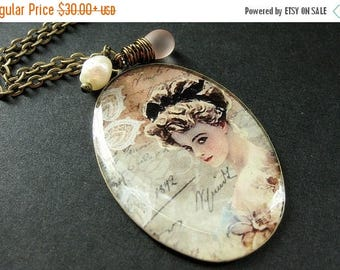 SUMMER SALE Victorian Lady Necklace. Vintage Woman Charm Necklace with Pink Teardrop and Pearl. Handmade Jewelry.
