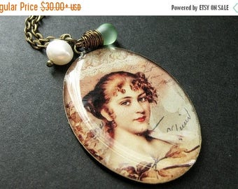SUMMER SALE Renaissance Redhead Necklace. Woman Charm Necklace with Green Teardrop and Pearl. Handmade Jewelry.