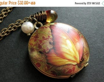 BACK to SCHOOL SALE Butterfly Locket Necklace. Autumn Butterfly Necklace with Wire Wrapped Teardrop and Pearl. Handmade Jewelry.
