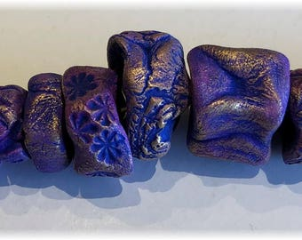 11 Rustic Artisan Handmade Ceramic Beads in ROYAL PURPLE and BRONZE for Jewelry, or Anywhere Your Creative Inspirations Lead!