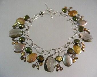 Multi Color Pearl Charm Bracelet In Sterling.....    Lot 5326