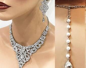 Silver Bridal jewelry set, Wedding necklace, Wedding jewelry set, crystal Bridal necklace earrings, pearl jewelry, bridesmaid jewelry set