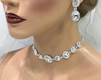 Wedding jewelry set, Bridal choker jewelry set, back drop necklace earrings, crystal necklace, crystal necklace, bridesmaid jewelry set