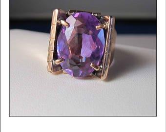 Vintage 18k Color Change  Alexandrite Ring