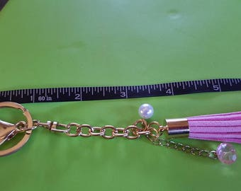 Keychain/ purse charm with Pink and Pearl