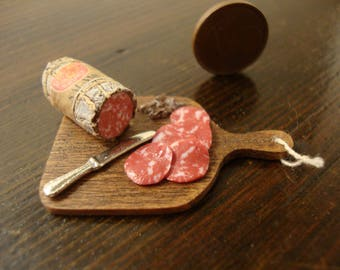 miniature, dollhouse, chopping wood, with, italian salame, 1/12 th scale