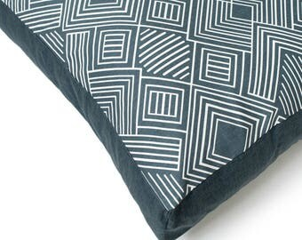 Charcoal Gray Dog Bed Duvet.  Big southwest dog bed cover.  Washable designer dog bed cover.  Phoenix Charlie Cushion Cover Grey
