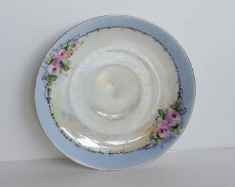 Gorgeous Hand Painted Opalescent Saucer Vintage
