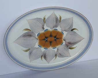 Chatsworth by Denby England Handpainted Garlic Platter Vintage