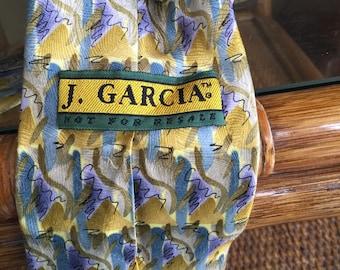 Jerry Garcia necktie Grateful Dead jacquard texture like guilloche Not For Resale 1990s modernist light peacock, purple, gold, khaki