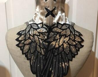 Silver angel wing collar