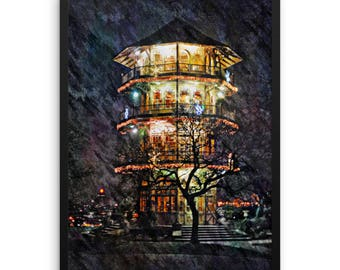 """Patterson Park Pagoda at Night, Baltimore, Md. Wall Art, Baltimore Skyline, 18"""" x 24"""" Framed Limited Edition. Hand Made, Giclee Print"""