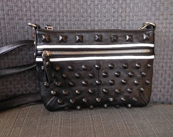Black studded faux leather purse; goth purse; punk purse; punk chick