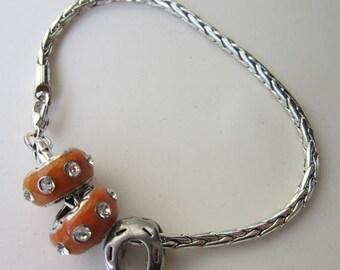 50% OFF Horseshoe Good Luck Charm Orange Enamel Clear Rhinestone Silver tone Bracelet