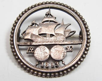 Antique 1893 Columbian Exposition Silver Half Dollar Cut Out Coin Brooch Pin Vtg