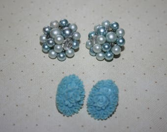 Two 2 Pair of Vintage Earrings Clip On Silver Tone Blue Bead Cluster, Blue Flower Cameo