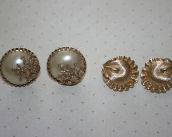 Two 2 Vintage Pairs of Clip On and Screw Back Earrings, Monet, Gold Tone, Faux Pearl