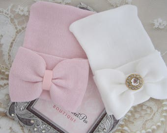 Newborn or Baby Shower Gift Set - Two Newborn Hospital Hats, with matching fabric bows, beenie, beanie, baby hat, Lil Miss Sweet Pea