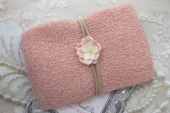 Blush Stretch Knit Wrap AND/OR Organic Mulberry Flower on Stretch Knit Headband for photo shoots, wrap set, bebe foto, by Lil Miss Sweet Pea