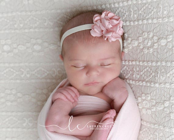 Pretty Blush 2.25 inch satin flower on 3/8 inch elastic, perfect for a newborn, photo shoots or everyday, Lil Miss Sweet Pea