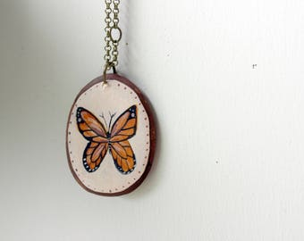 Monarch Pendant Necklace - Illustrated monarch necklace