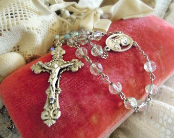 Vintage Italian Sterling Silver Rosary / Sterling Silver Pectoral Rosary / Crucifix / Cross / Aurora Borealis Crystal Beads