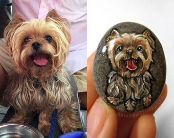 Custom Pet Portrait, Rock Art, Beach Stone Painting, Dog Memorial Gift, Cat Lover Gift