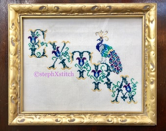 EXTRA Funny Peacock Ornate Font Cross Stitch Finished Framed Wall Art Gold Frame