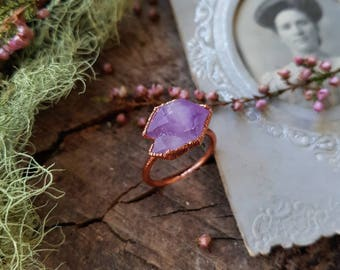 Mini Cluster Amethyst Crystal and Raw Copper Ring