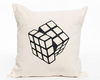 Rubik's Cube | Pillow Cover | Pillow Accent | Nursery Decor | Children's Room | Graphic | Home Decor | 3D Puzzle | Toy Room | Play Room