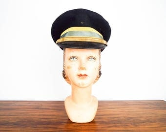 Vintage British WWII Military Lux Enberg Officers Peaked Cap, Unique High Quality Militaria Soldiers Black Hat