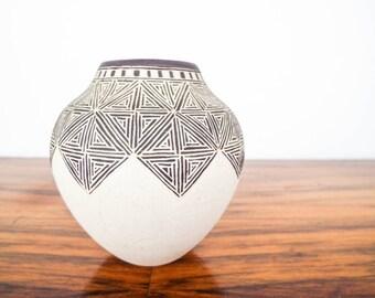 Vintage Signed Native American Acoma Pueblo Pottery Small Po Vase by LeSue II