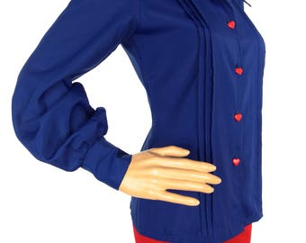Lovely 70s Blue Wide Collar Blouse With Heart Button Detail
