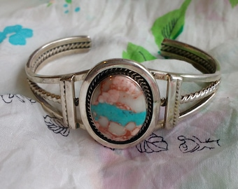 Chaco Canyon Native American Ribbon Turquoise Sterling Silver Ladies Pink Turquoise Cuff Bracelet Signed