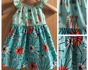 Retro Print Cats Cotton Peasant Style Sundress, size 4t