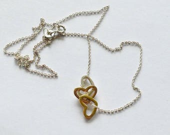 SALE Vintage Sterling Silver and Gold Vermeil Floating Hearts Necklace IBB