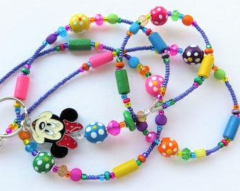 CHEERFUL MINNIE- Beaded ID Lanyard- Sparkling Crystals, Pearls, Wood Beads, and Minnie Mouse Charm (Magnetic Clasp)